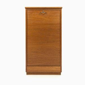 Danish Teak Tambour Door Filling Cabinet, 1950s