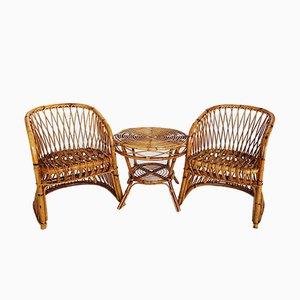 Juego de dos sillas italianas de bambú y mesa de Vittorio Bonacina, años 60
