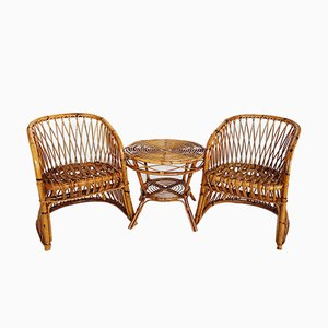 Set with 2 Italian Bamboo Chairs & 1 Table by Vittorio Bonacina, 1960s