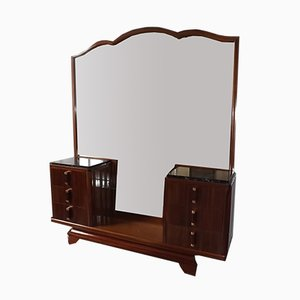 Large Art Deco French Bronze, Mahogany & Marble Dressing Table by Gaston Poisson, 1930s
