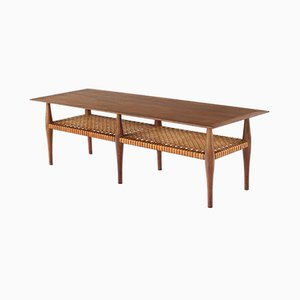 Mid-Century Walnut & Cane Modern Coffee Table