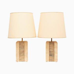 Rechteckige französische Vintage Tischlampen aus Marmor & Messingfurnier, 2er Set