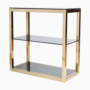 Hollywood Regency Brass and Smoked Glass Etagere by Renato Zevi, 1970s