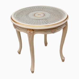 Vintage French Provincial Side Table with Cane Top