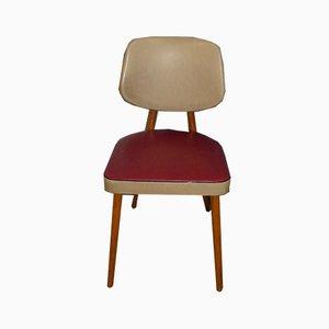 Chaise de Bureau en Bois et Skaï Beige, 1950s