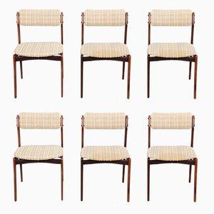 Modell 49 Esszimmerstühle aus Palisander von Erik Buch für Oddense Maskinsnedkeri, 6er Set