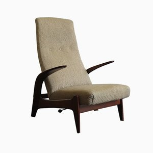 Fabric and Wood Rock 'n' Rest Lounge Chair from Gimson and Slater, 1960s