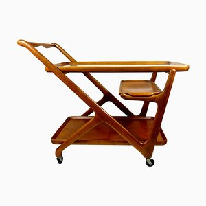 Mid-Century Wooden Tea Trolley by Cesare Lacca for Cassina, 1950s