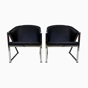 Postmodern Chrome and Leatherette Armchairs, 1980s, Set of 2
