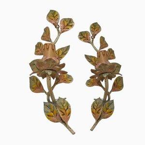Vintage Wandleuchten aus Schmiedeeisen in Blumen-Optik, 2er Set