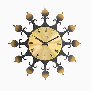 Reloj de pared vintage de latón de Weimar, años 60