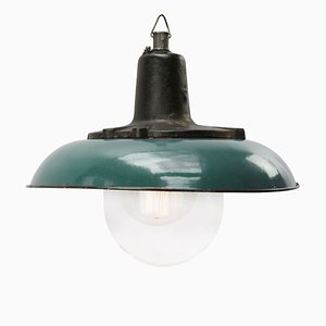 Industrial Cast Iron and Dark Petrol Enamel Ceiling Lamp, 1950s