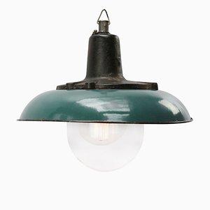 Lampada da soffitto industriale in ghisa e smaltata color petrolio, anni '50
