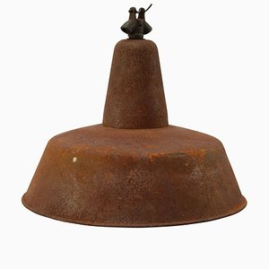 Mid-Century Industrial Rusted Metal Ceiling Lamp, 1950s