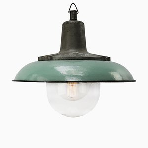 Industrial Cast Iron, Petrol Enamel, and Glass Ceiling Lamp, 1950s