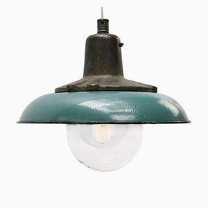 Petrolblaue industrielle Deckenlampe aus Gusseisen, 1950er