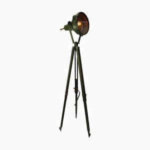 Industrial Green Aluminum Floor Lamp with Wooden Tripod, 1950s