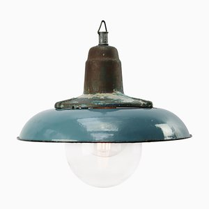 Industrial Cast Iron and Blue Enamel Glass Ceiling Lamp, 1950s