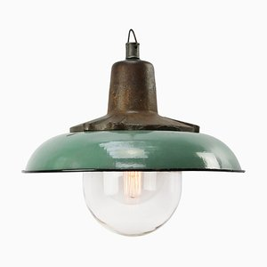 Industrial Cast Iron and Petrol Enamel Ceiling Lamp, 1950s