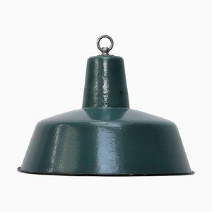 Petrolblau emaillierte industrielle Mid-Century Deckenlampe, 1950er