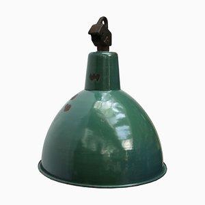 Mid-Century Industrial Petrol Enamel Ceiling Lamp, 1950s