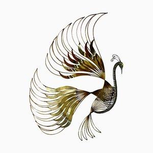 Scultura a forma di pavone in ottone di Curtis Jeré, anni '80