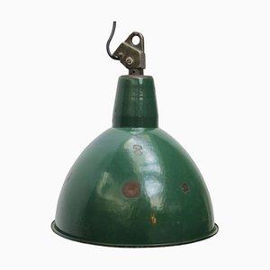 Grün emaillierte industrielle Mid-Century Deckenlampe, 1950er