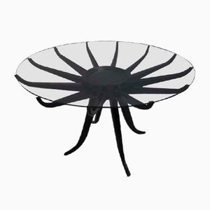 Modernist Italian Glass & Metal Coffee Table, 1950s