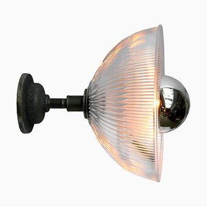 Industrial Cast Iron and Glass Sconce from Holophane, 1950s