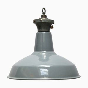 Industrial English Grey Enamel Ceiling Lamp, 1950s