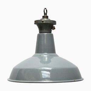 Industrial English Grey Enamel Ceiling Lamp, 1950s