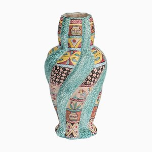 Large Italian Colorful Majolica Vase by Kerima Gualdo T., 1960s