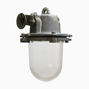 Graue industrielle Deckenlampe aus Gusseisen & Glas, 1950er