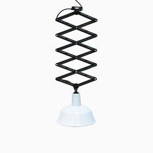 Industrial White Enamel Scissor Pendant Lamp, 1950s