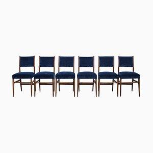 Moderne italienische Esszimmerstühle aus Samt & Nussholz von Gio Ponti für Cassina, 1950er, 6er Set