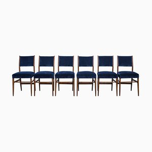 Modernist Italian Velvet and Walnut Dining Chairs by Gio Ponti for Cassina, 1950s, Set of 6
