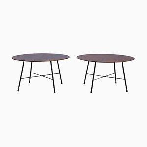 Tavolini da caffè in metallo e noce di Ico Parisi per Cassina, Italia, anni '50, set di 2
