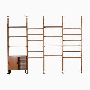Italian Iron and Teak Shelf System by Leonardo Fiori for I.S.A. Bergamo, 1950s