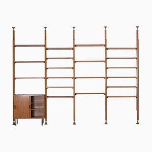 Italian Iron and Teak Shelf System by Leonardo Fiori for I.S.A. Bergamo, 1950s