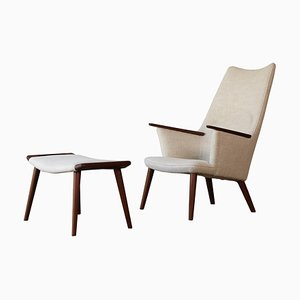 Mid-Century Danish AP-27 Chair and Ottoman by Hans Wegner for A.P. Stolen