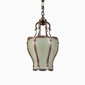 Lámpara de pasillo o farol francesa neoclásica de bronce, años 30