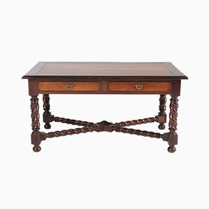Antique Jacobean Style Brass and Padouk Desk