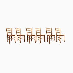 Sillas de comedor italianas vintage con respaldo de listones y asientos de ratán, 1978. Juego de 6