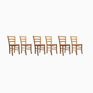Vintage Italian Slat Back Dining Chairs with Rush Seats, 1978, Set of 6