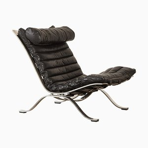 Leather and Steel Ari Lounge Chair by Arne Norell for Norell Mobel AB, 1970s