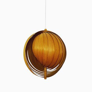 Swedish Wood Lamella Moon Pendant Lamp, 1960s