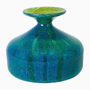 Vase MDINA en Verre Artisanal Turquoise par Michael Harris, 1970s