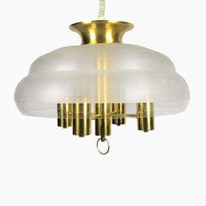 Hollywood Regency Style Brass Pendant Light, 1970s