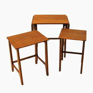 Tavolini ad incastro in teak, anni '50