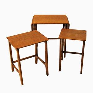Teak Nesting Tables, 1950s, Set of 3